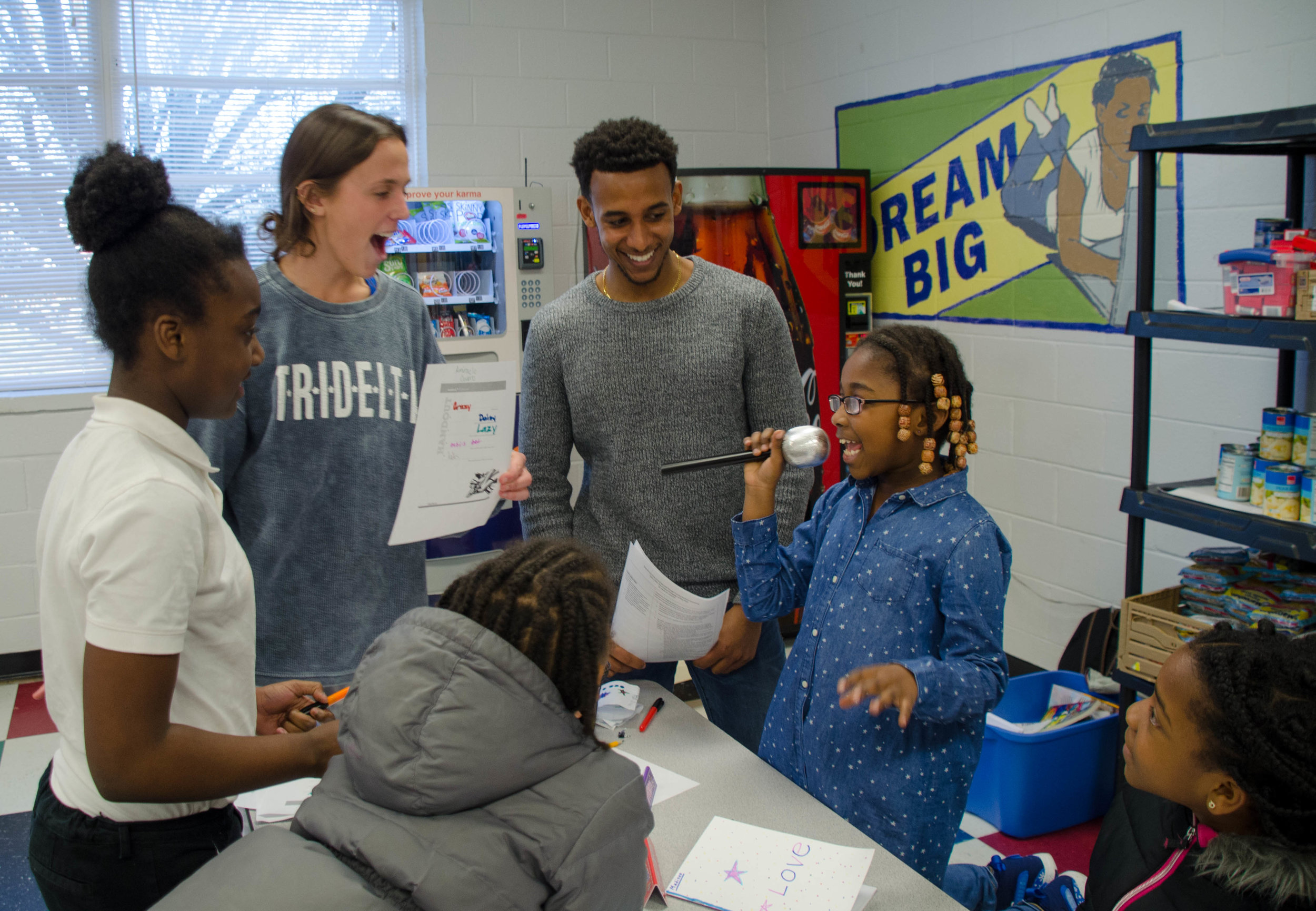 """PHOTO: Students from """"Critical Pedagogy of Hip Hop"""" (EDUC 290S), taught by Professor Kisha Daniels, collaborated with community partners from the Boys and Girls Club of Durham and Orange County, and utilized hip hop to develop engaging and empowering learning environments."""
