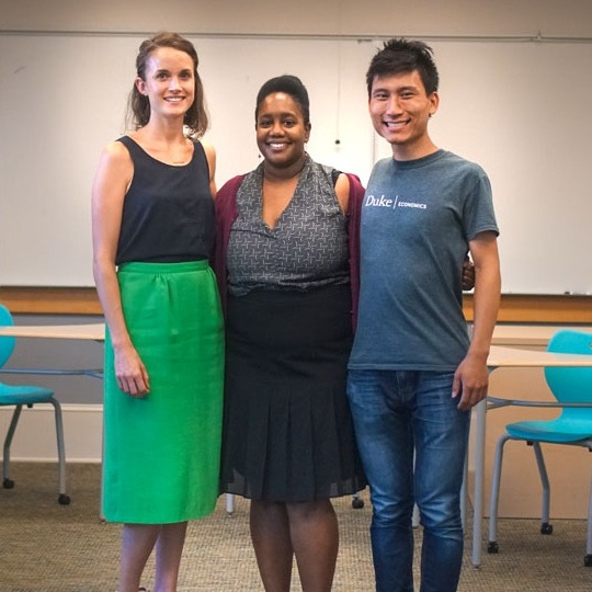 "From left to right:  Denver Jameson, Quisha Mallette, and Julian Xie, community partners for the service-learning course ""Health, Culture, and the Latinx Community"" (SPANISH 306)"