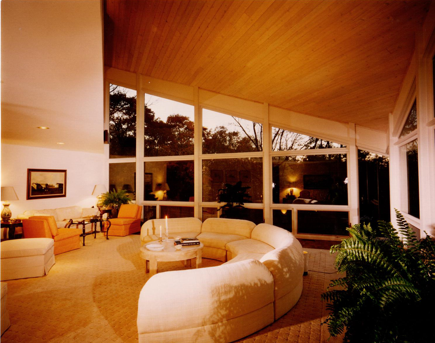 Living Room, contemporary Home at Black Point, 1970s