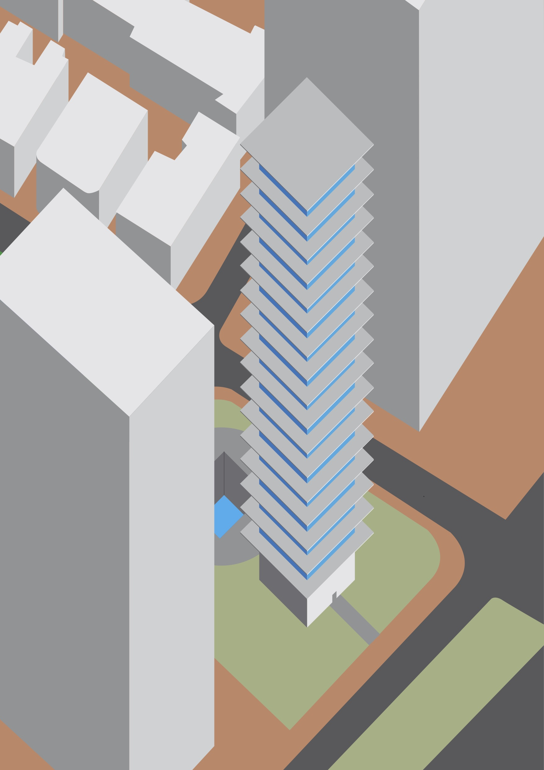 Site axonometric - the image shows the context of the environment surrounding the tower.
