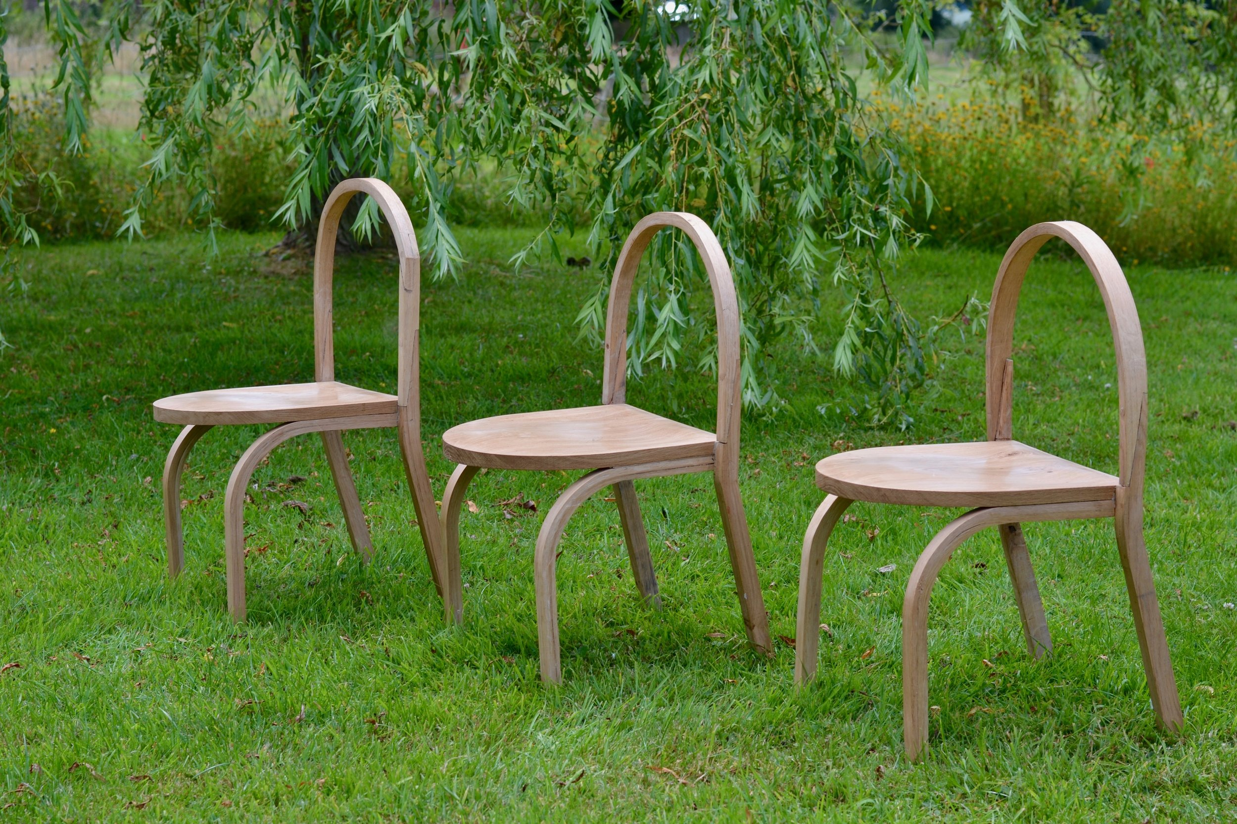 - The chair is made of English oak that has been stem bent or CNC milled.