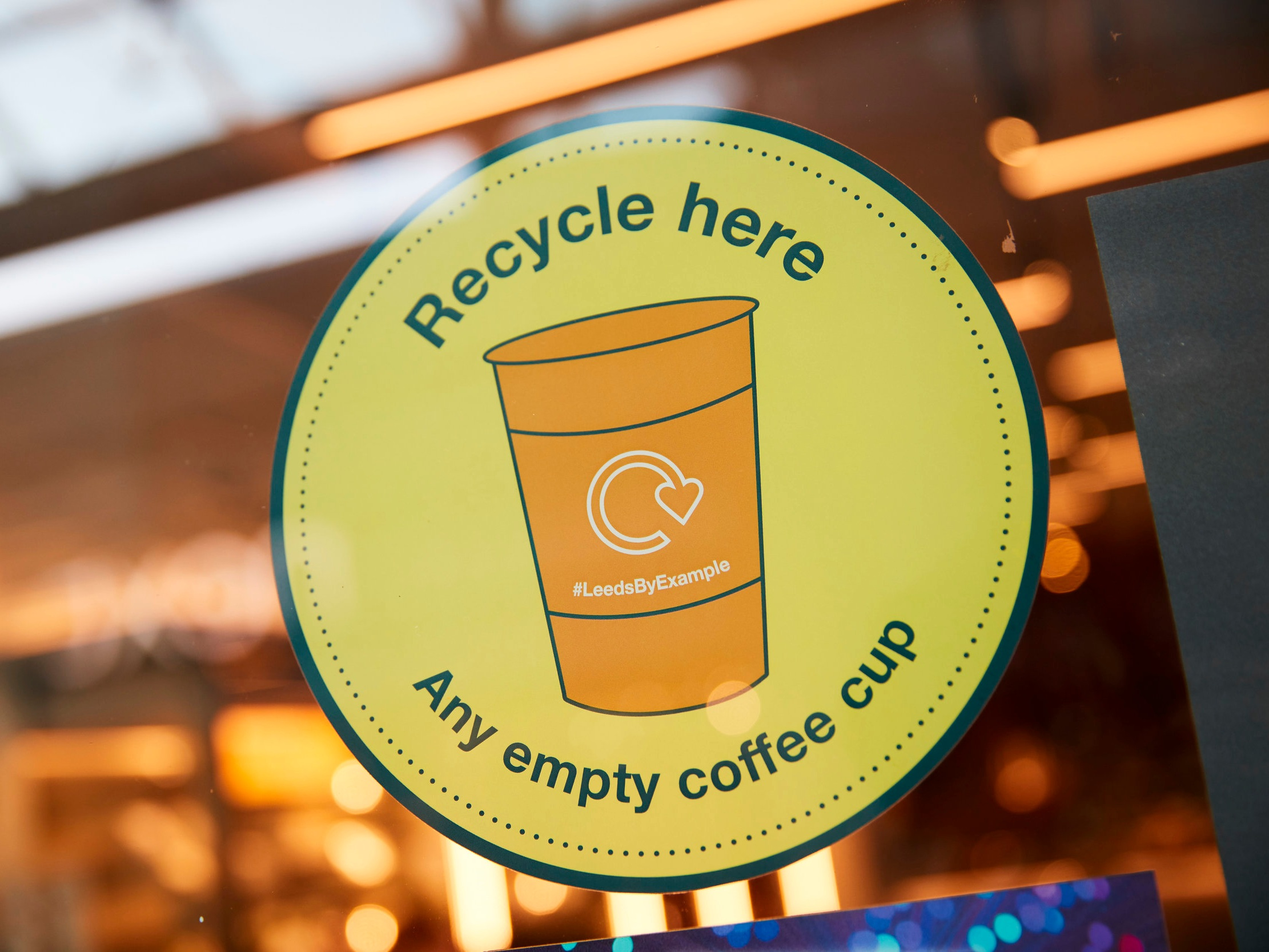 Find a recycling bin at a yellow pin - There are over 100 in Leeds City Centre, you're never more than 5 minutes away! Empty coffee cups can be recycled in any Caffè Nero, Costa, McDonald's, Pret and Starbucks or in one of 5 new bright orange bins.