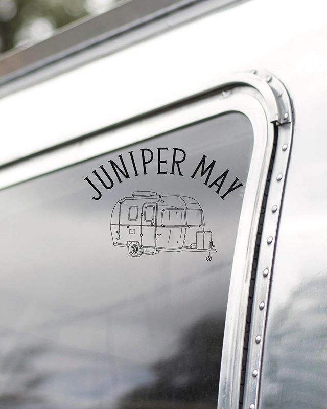 Juniper May is a logo design that might represent any airstream, trailer, beloved home on wheels or vacation rental well. Because these spaces are so loved and often named, we wanted the chance to brand one of them well.  Shop this and other branding at www.thesuiteshop.co🍬