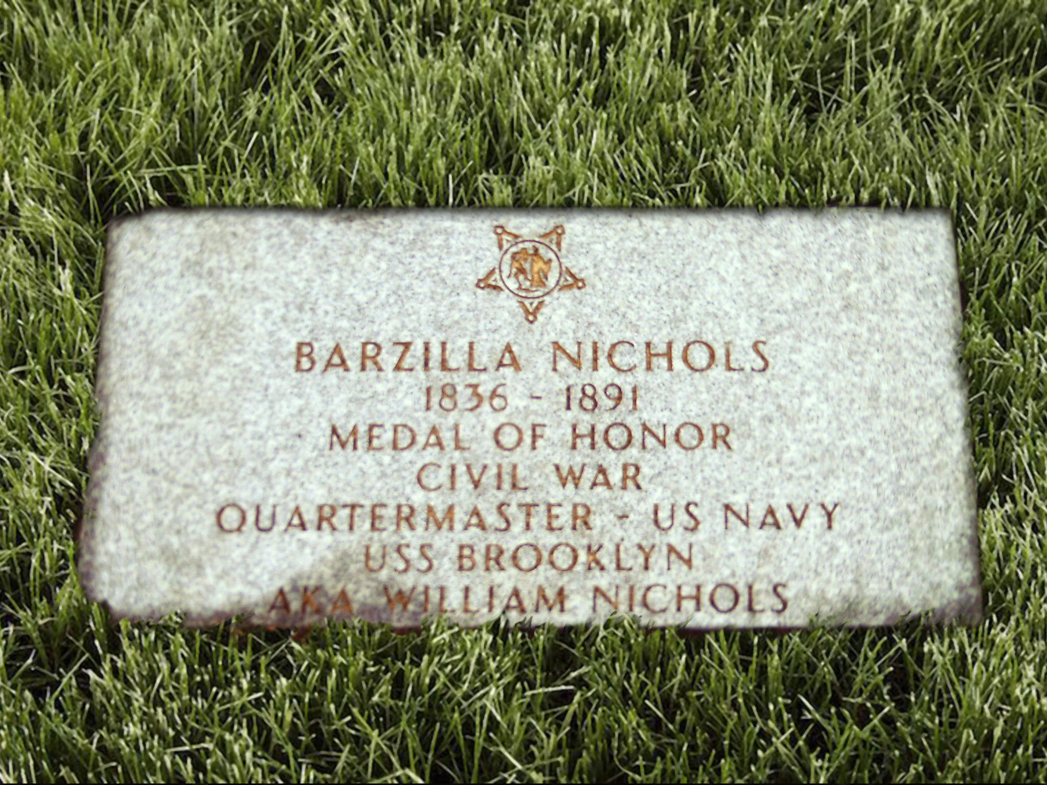 Grave marker for Medal of Honor recipient Barzilla Nichols.