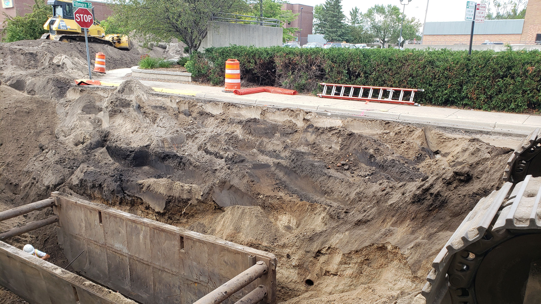 Support structure in place for sewer upgrade on 8th street
