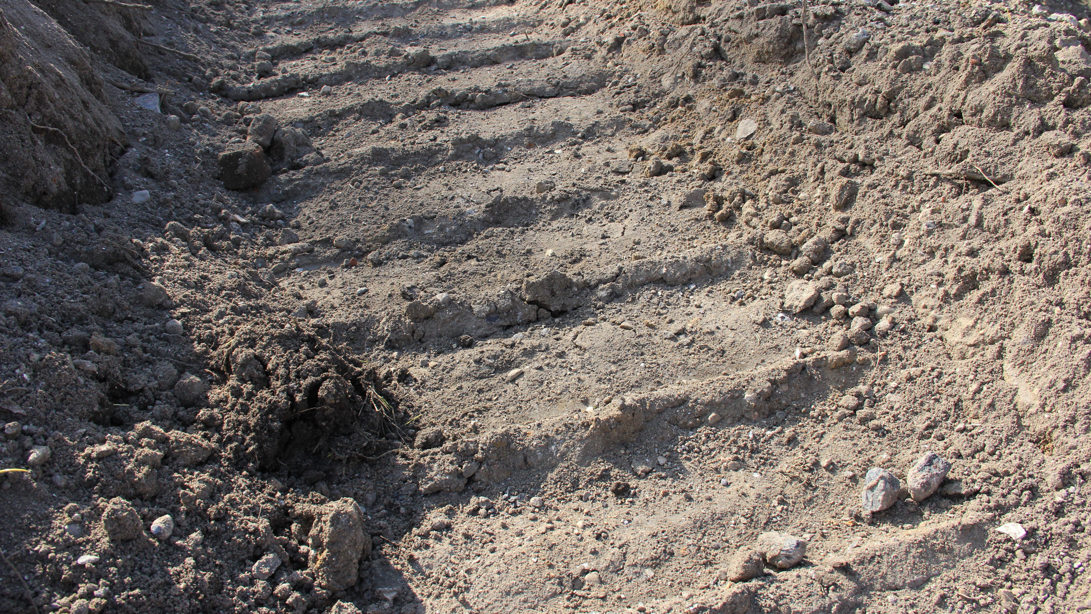Track left behind from an excavator.