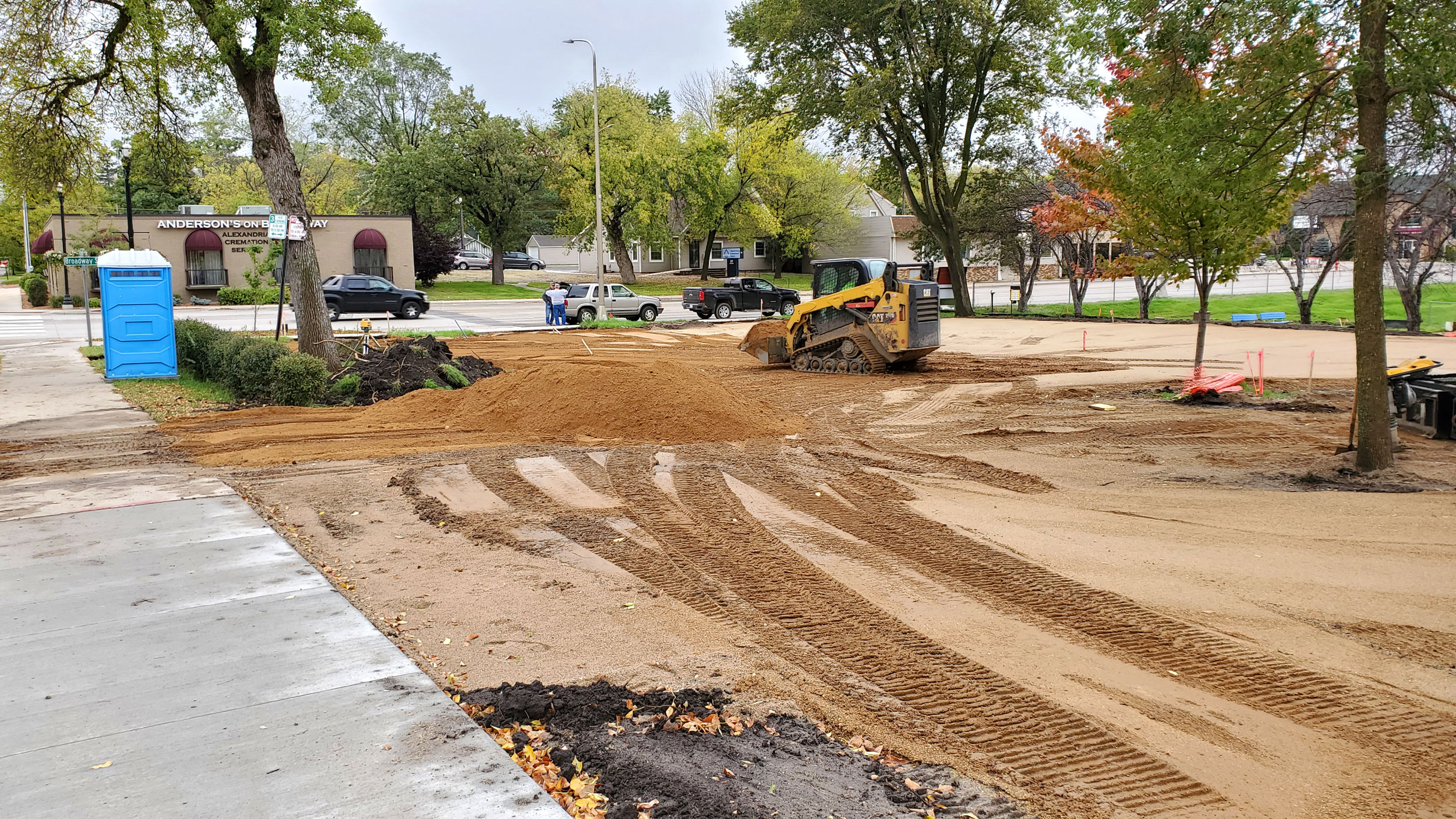 Fill is being moved into the area for sidewalks.