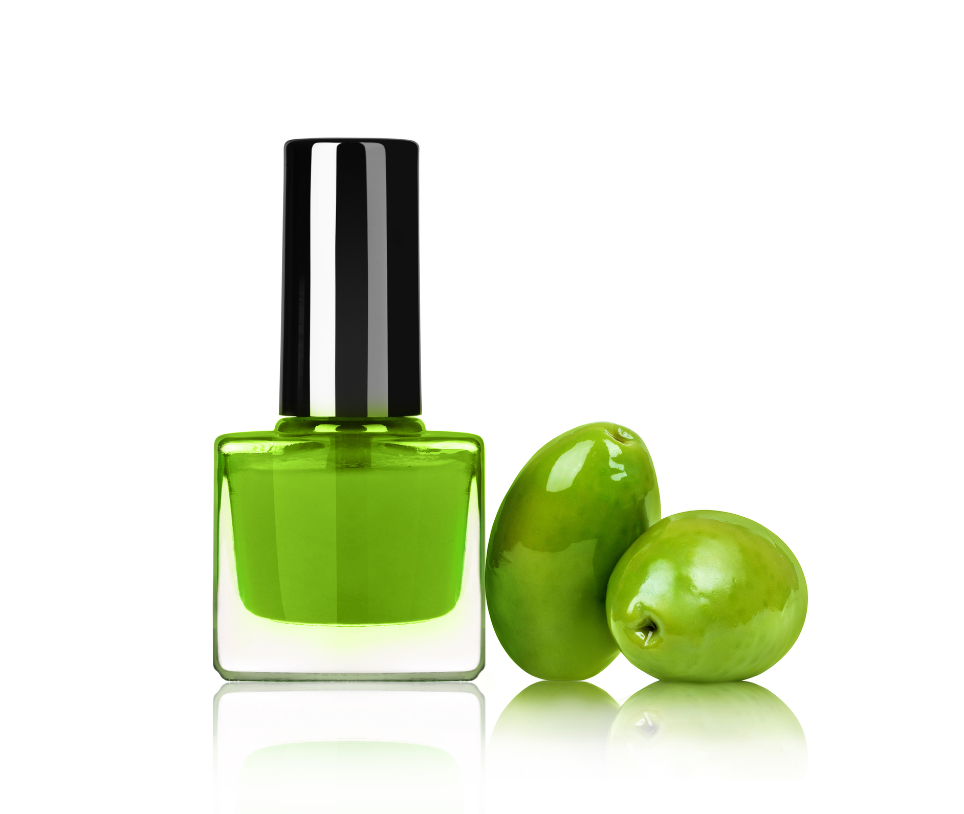 Bright nail polish with olives isolated on white background