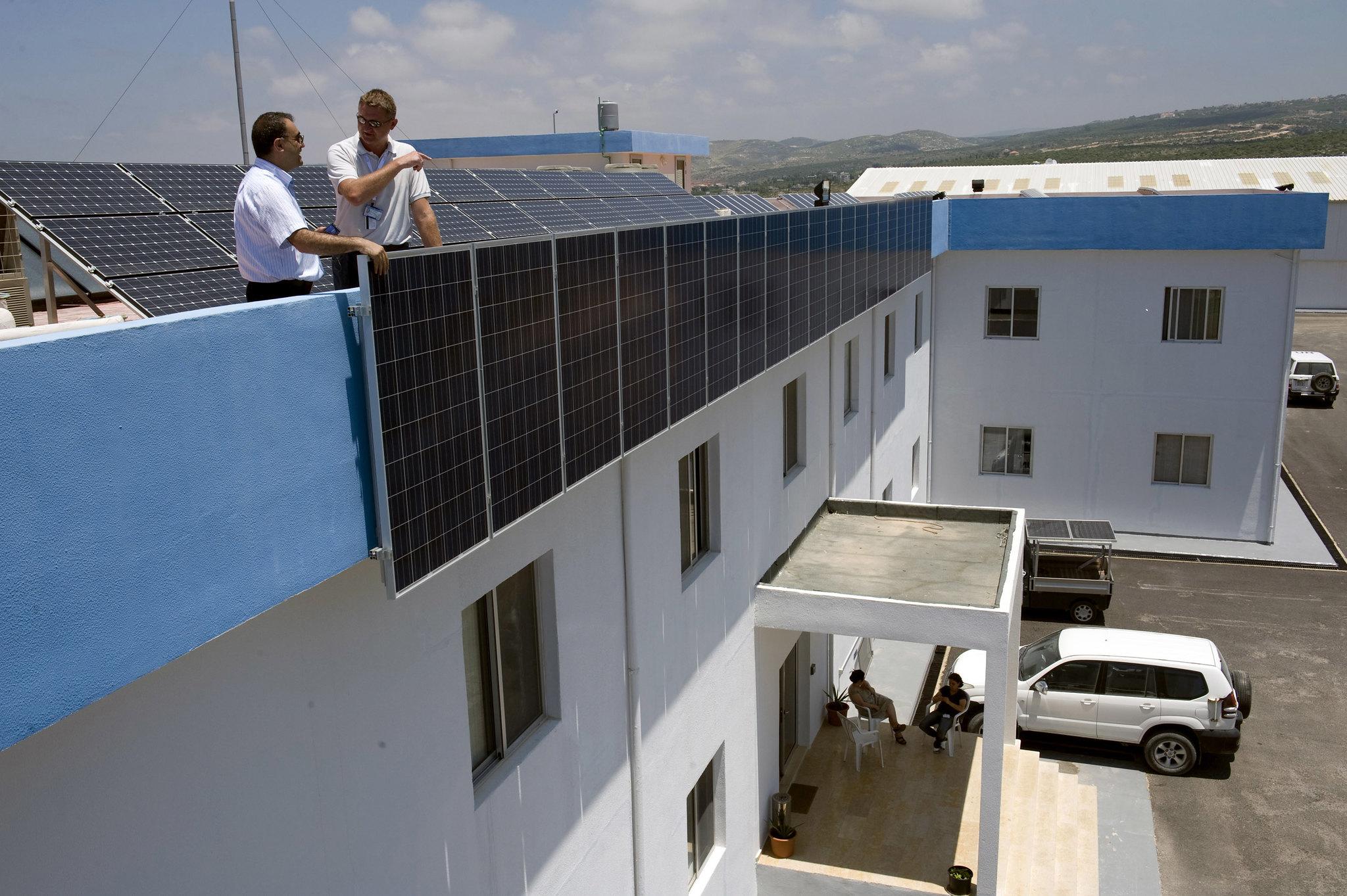 Solar panels at the UNIFIL Headquarters in Naqoura, Lebanon. Photo credit: Pasqual Gorriz/ UNIFIL.