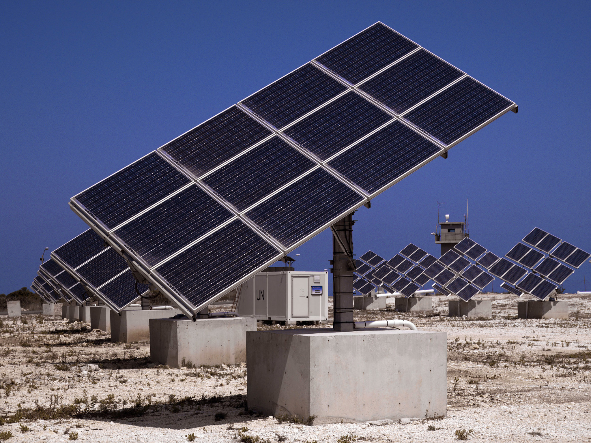 Solar farm at UNIFIL Headquarters in Naqoura, Lebanon. Photo credit: Pasqual Gorriz/ UNIFIL.