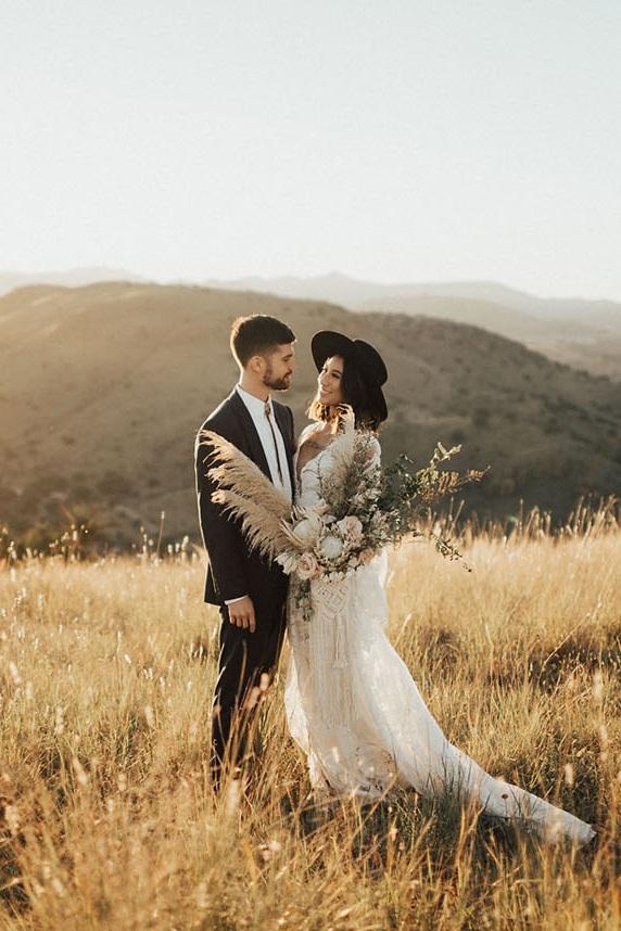 Boho Desert Elopement in Marfa - Featuring:Styling: Maxwell & GrayPhotography: Lauren NicoleDress: lovely bridePaper: Pais and HazeCake: Shannon Star