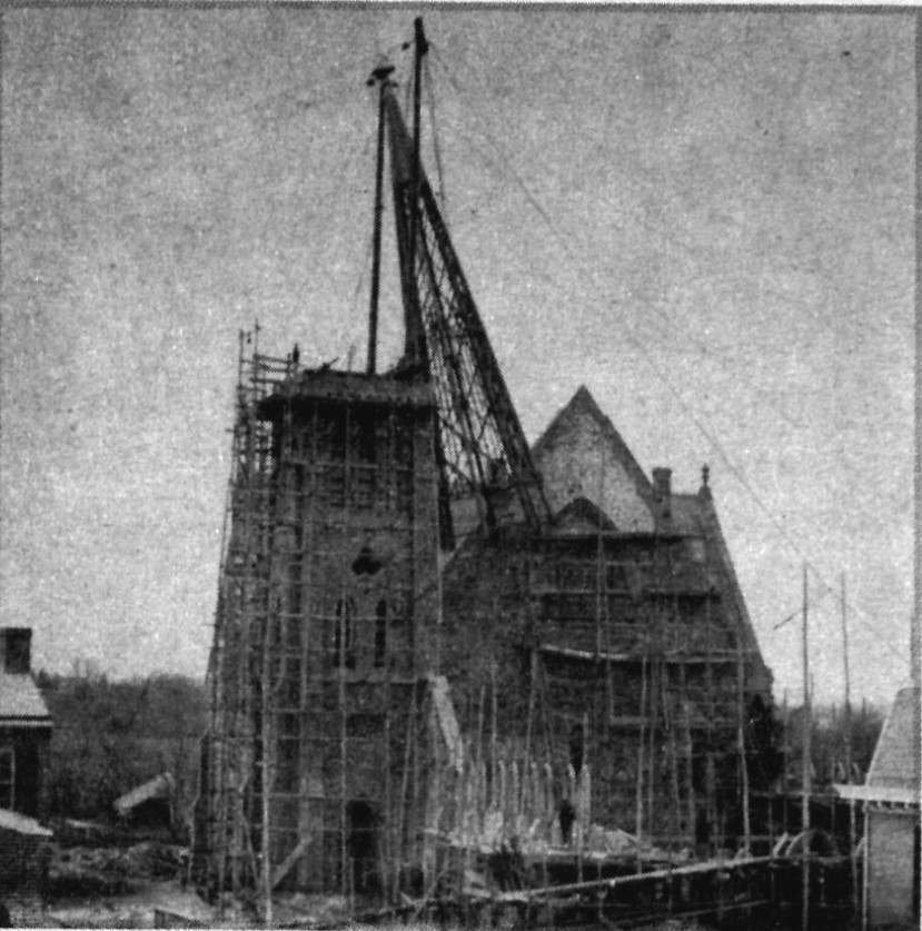 Raising of the 9th Street bell tower, c. 1866