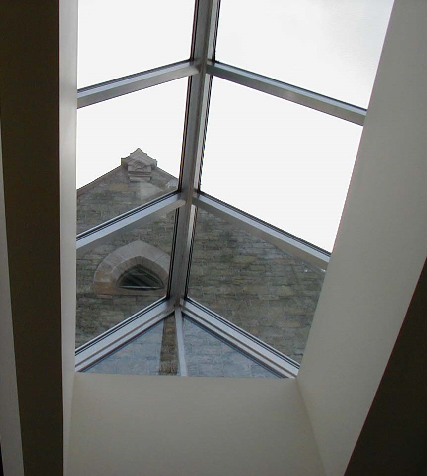 View of 1866 annex from the skylight of 2001 entrance pavilion