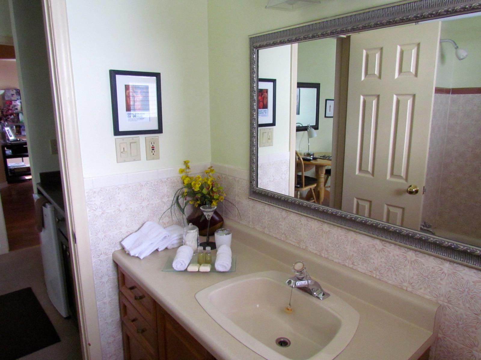 bathroom mirror art bnb b&b