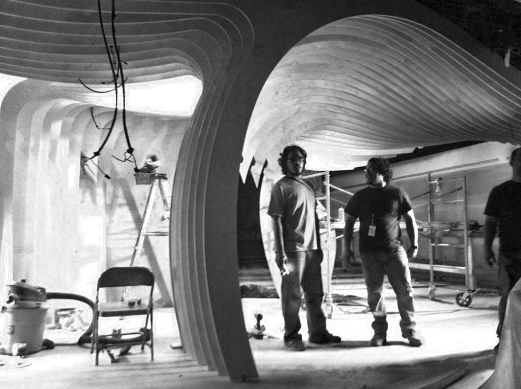 Javier and Oscar durning The Perugino Ceiling installation. 2011
