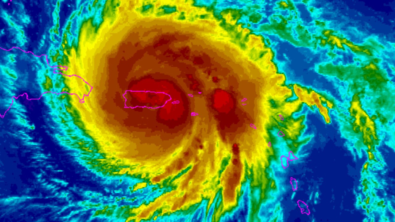 Satellite image showing the Category 5 Maria Hurricane tearing Puerto Rico. September 20, 2017.