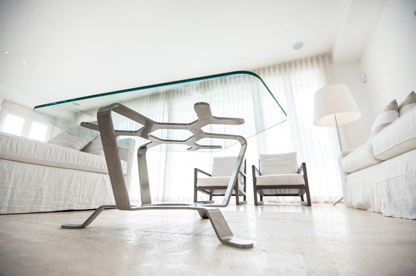 Dendrone Table, Iron Award. Stainless steel and glass. 2014