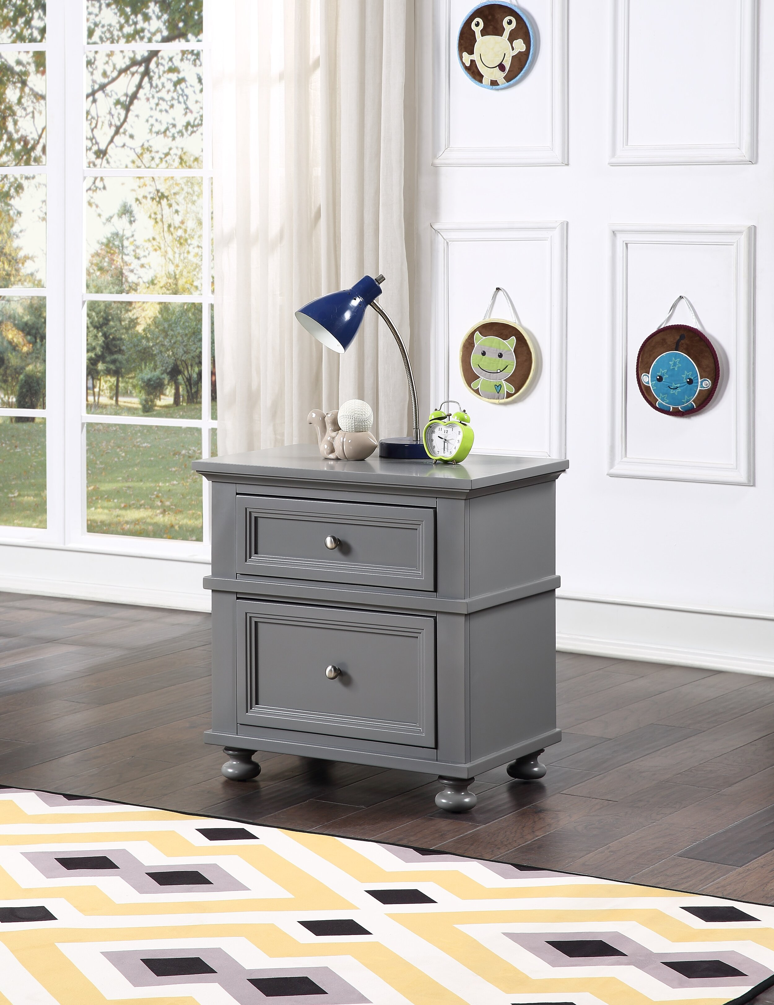 Rio 2 Drawer Nightstand Pebble Grey Building Blocks