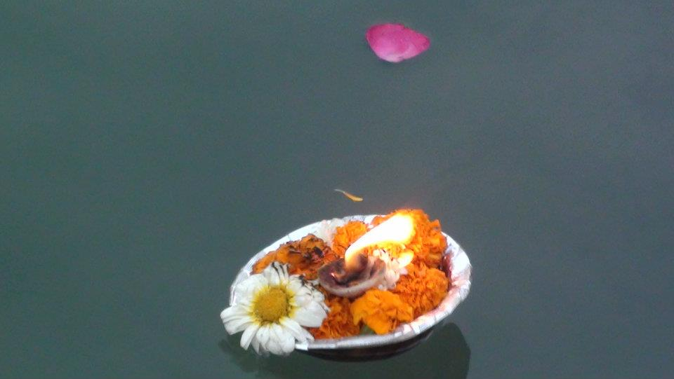 Aarti bowl floating on the River Ganges