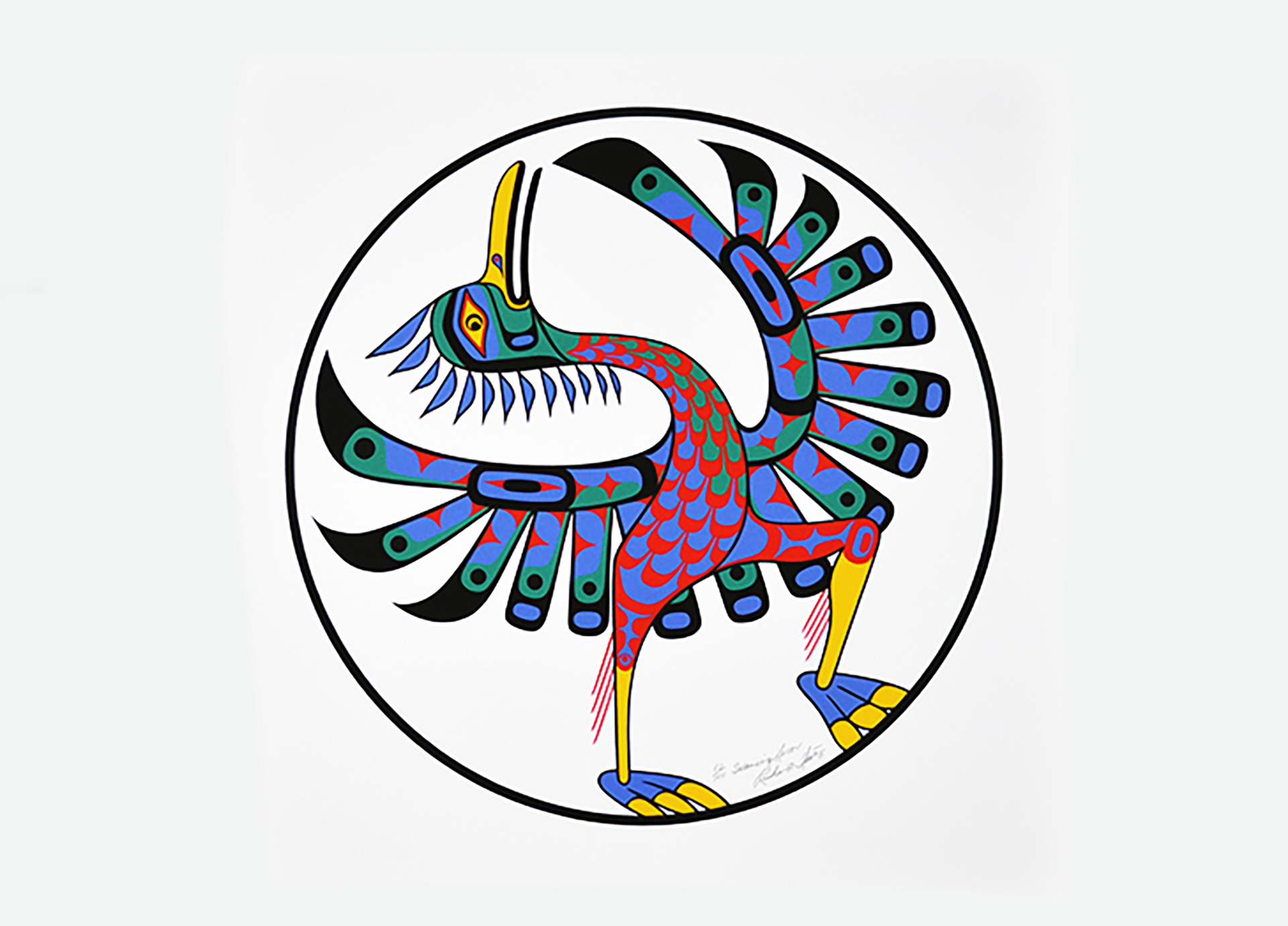 This cheerful dancing heron print was featured as the logo for the 26th annual Times Colonist 10K race.