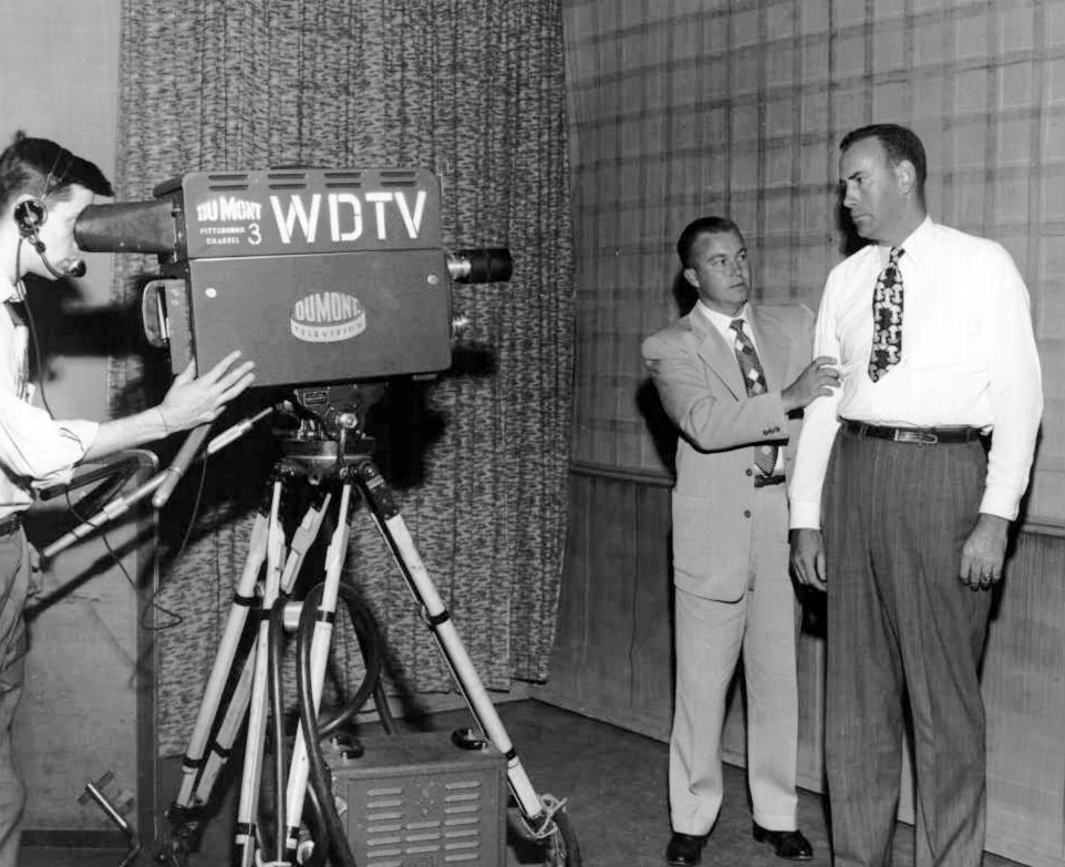 Photo of a broadcast of the television program We, the People from DuMont television network's Pittsburgh, PA station, WDTV. Shown at right is New York Yankees player Bill Bevens, who was the guest. Date 18 April 1952-date of broadcast. Photographer: Judd Sheppard, Pittsburgh, PA.