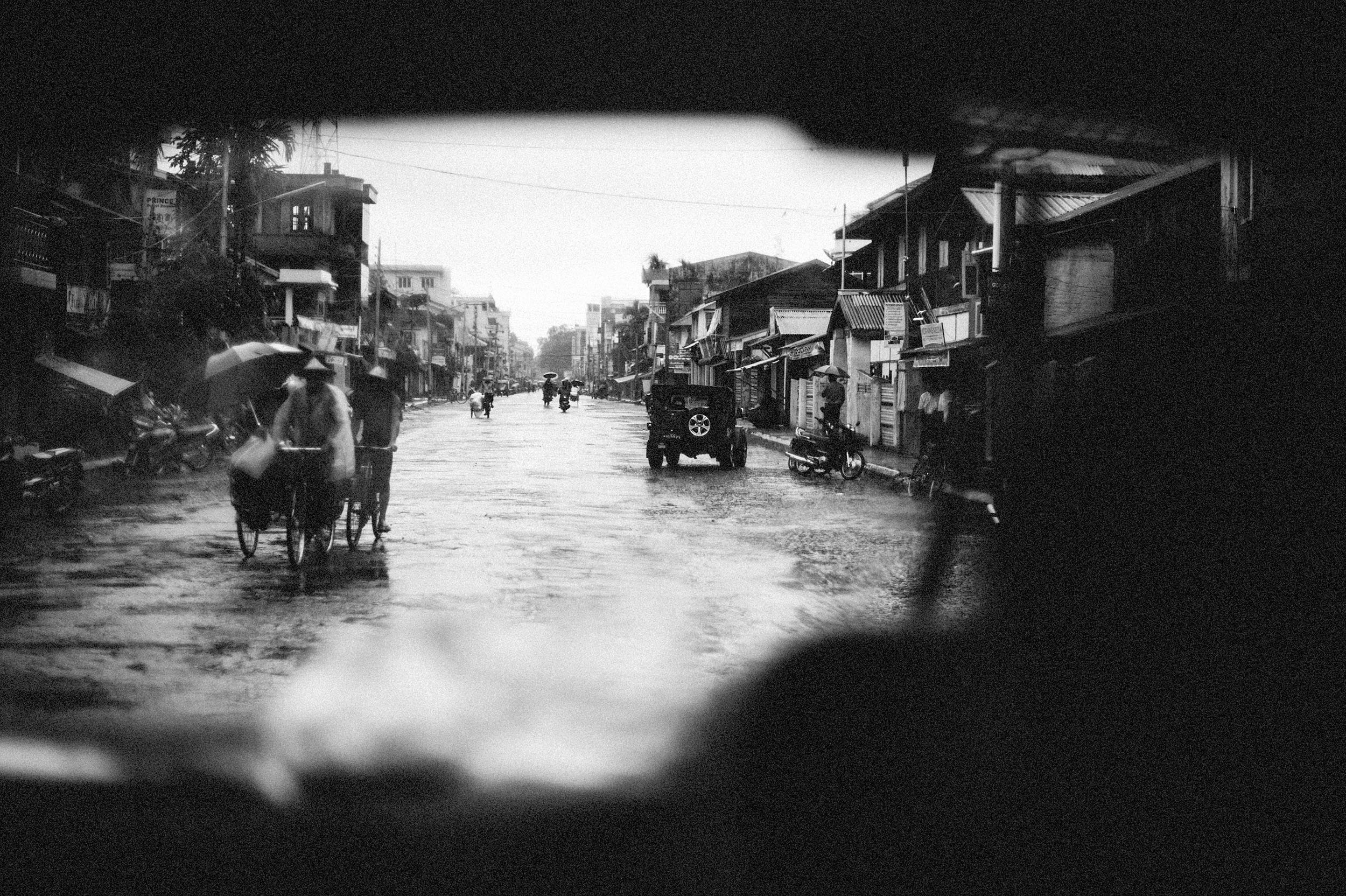 The pot-holed streets of Sittwe, during fighting between Burmese Buddhists and the minority Muslim Rohingya.