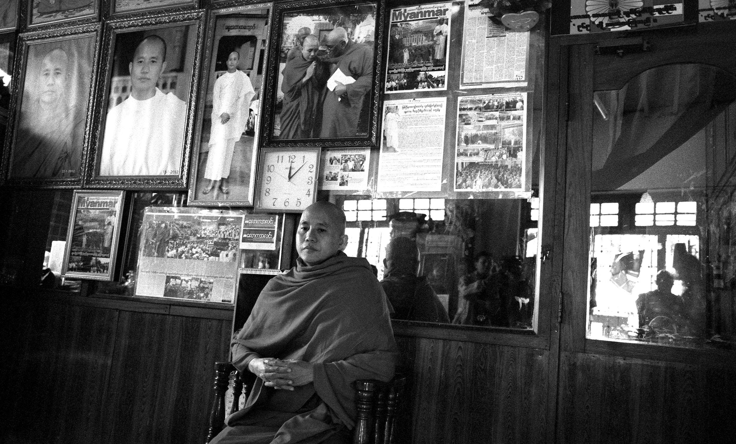 Ashin Wirathu, the figurehead of the fascist Buddhist 969 movement at his monestary in Mandalay.
