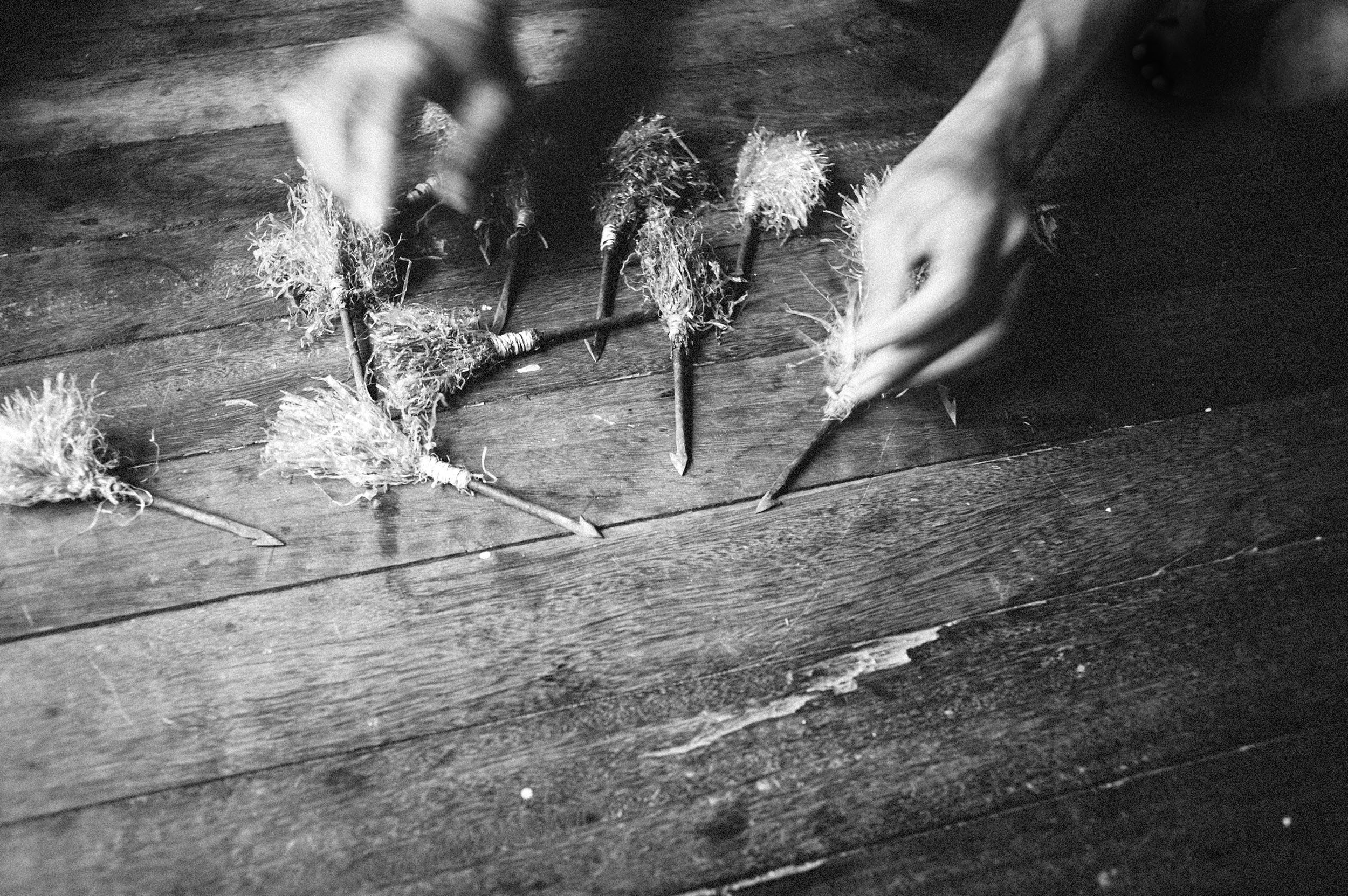 Jinglee - homemade projectiles. Made from sharpened nails.