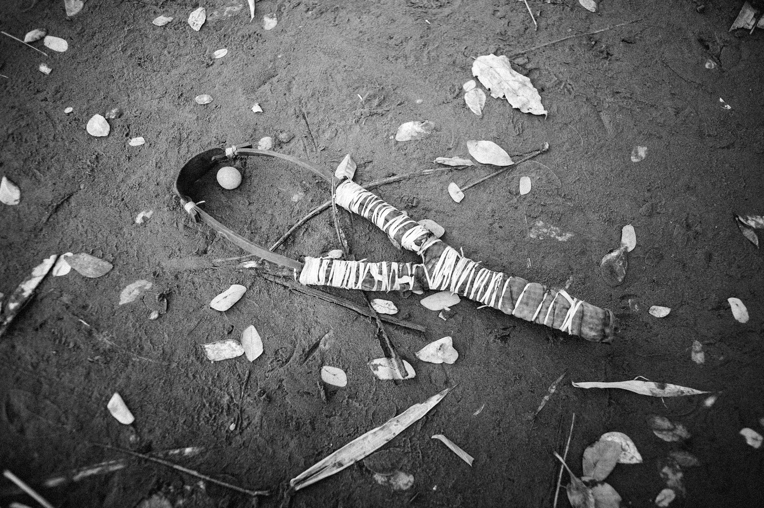 A homemade slingshot, used as a weapon during religious conflict in Sittwe.
