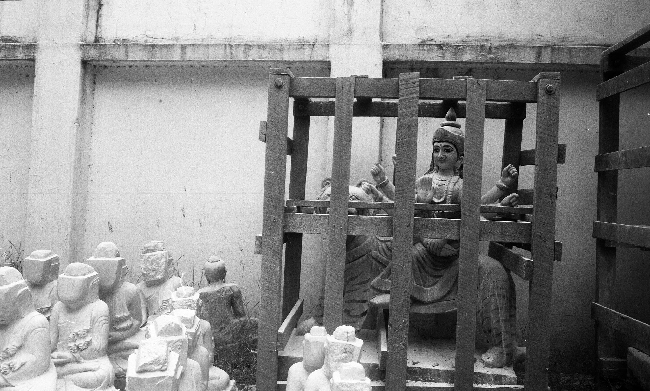Religious sculptures ready for sale in Mandalay.
