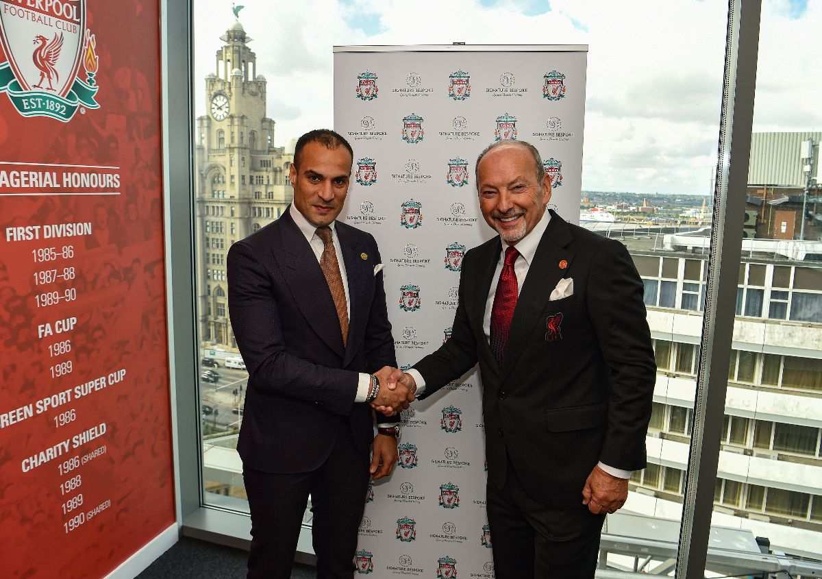 (Left) Signature Bespoke Founder Mo Adousa with Liverpool FC CEO Peter Moore (Right)