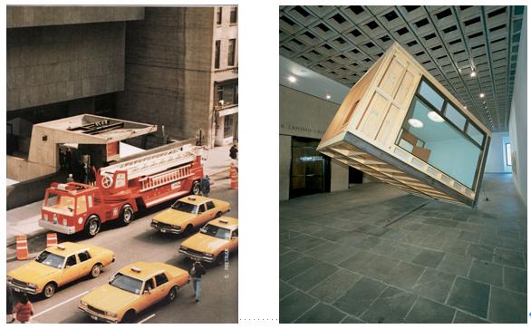 left: Charles Ray, Firetruck   right: Glen Seator, Whitney Director's Office