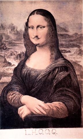 "L.H.O.O.Q  Marcel Duchamp, 1919. The pronunciation is the same as ""Elle a chaud au cul"" meaning she has a hot ass"