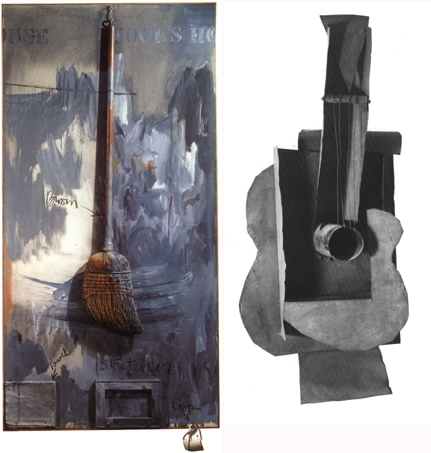 left: Jasper Johns, Fool's House, 1962. right: Pablo Picasso, Guitar, 1912.
