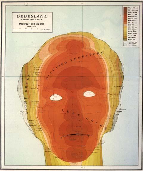 """Michael Druks: """"Druksland"""" from Flexible Geography 1974 in:  Cartes et Figures de la Terre , Paris, Pompidou Center 1980"""