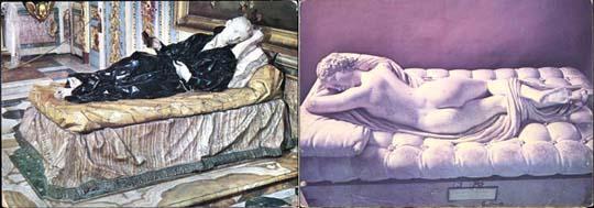 Dying Saint, Rome St. Andrea al Quirinale Sleeping Hermaphrodite, Louvre, mattress by Bernini