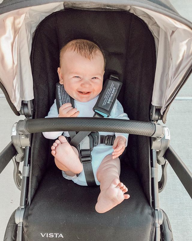 this kiddo graduated from the bassinet to the big boy stroller seat. he's pissed about it 🤪 #uppababy #stroller #babyboy #cannonfox #toes