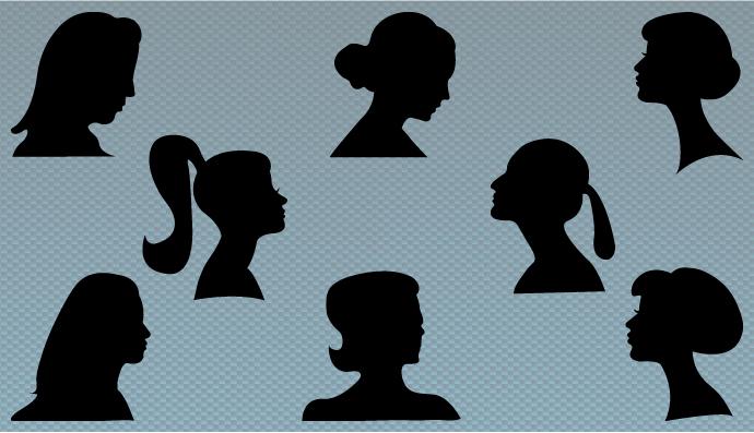 Silhouettes of women's heads