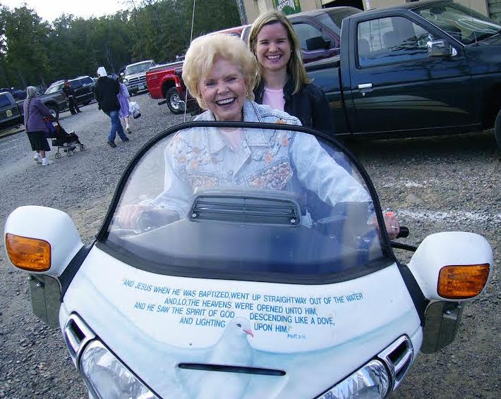 """Vonette """"riding"""" with the Christian Motorcyclists Association"""