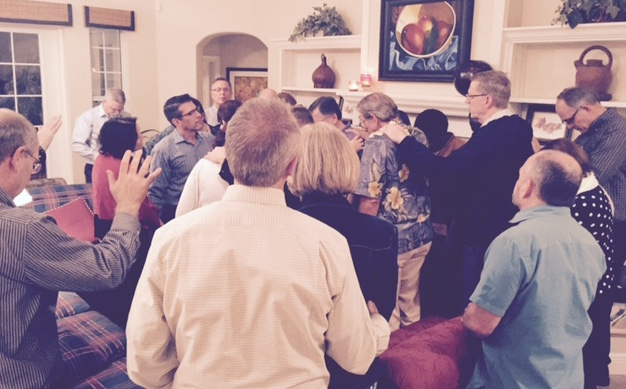 Praying for Peter and Luba Iliyn of YWAM at home of Wycliffe's Bob and Dallas Creson
