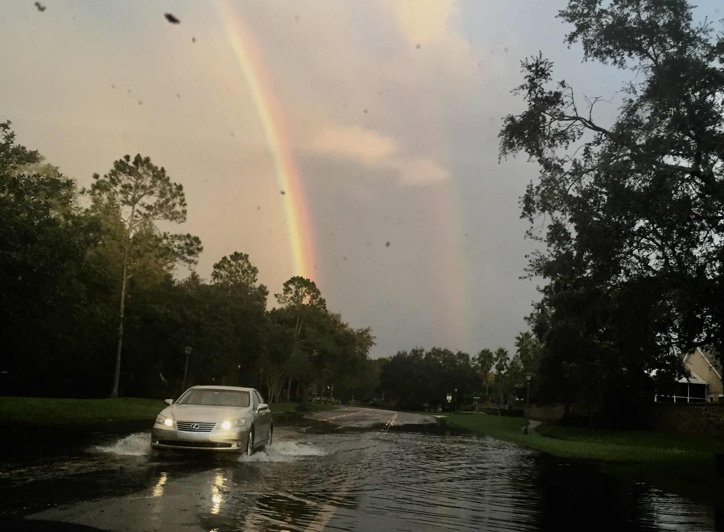 The double rainbow, as we drove thru flooded street, was a promise
