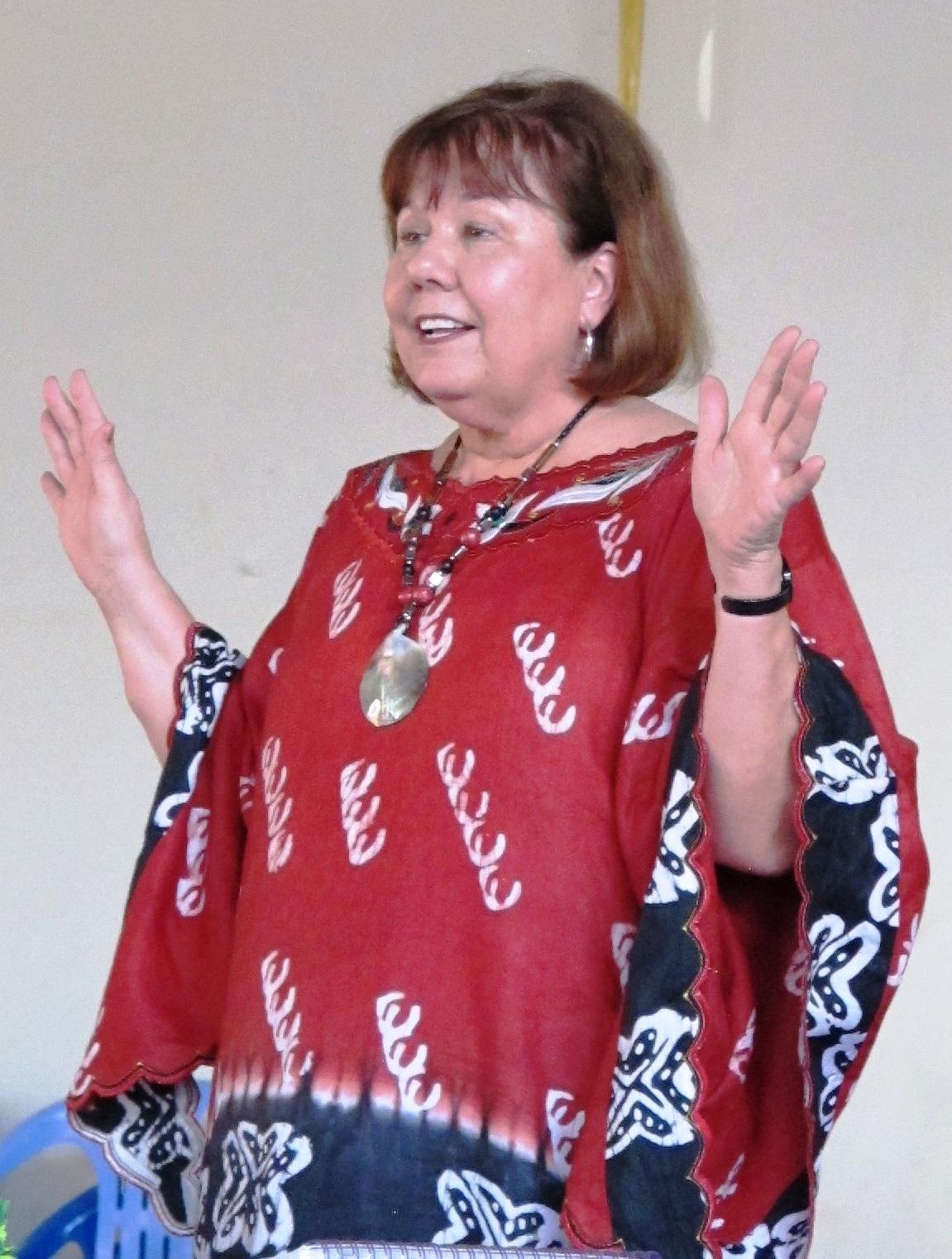Judy speaking to church women