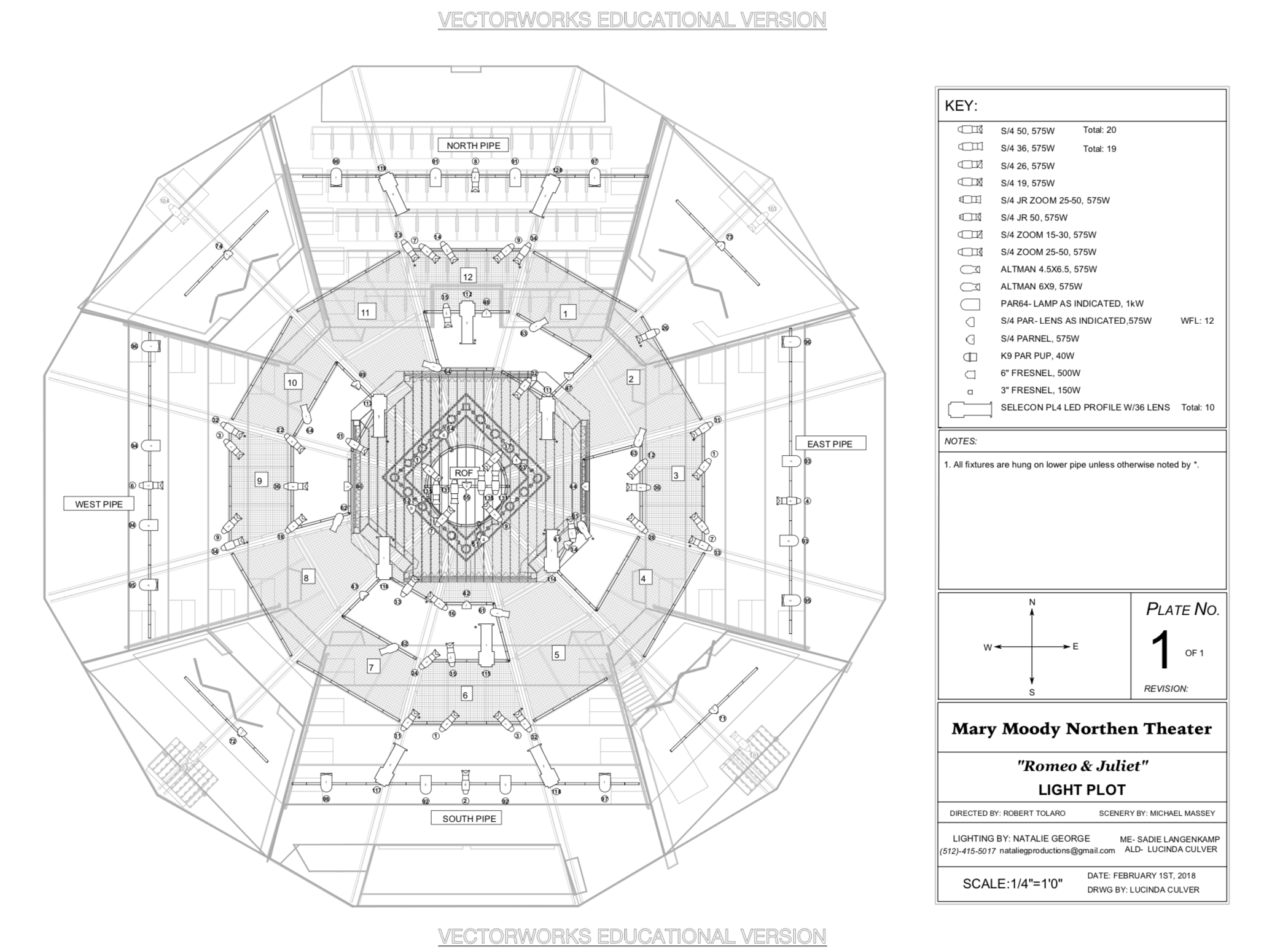 Romeo & Juliet Light Plot  Drafted by Lucinda Culver
