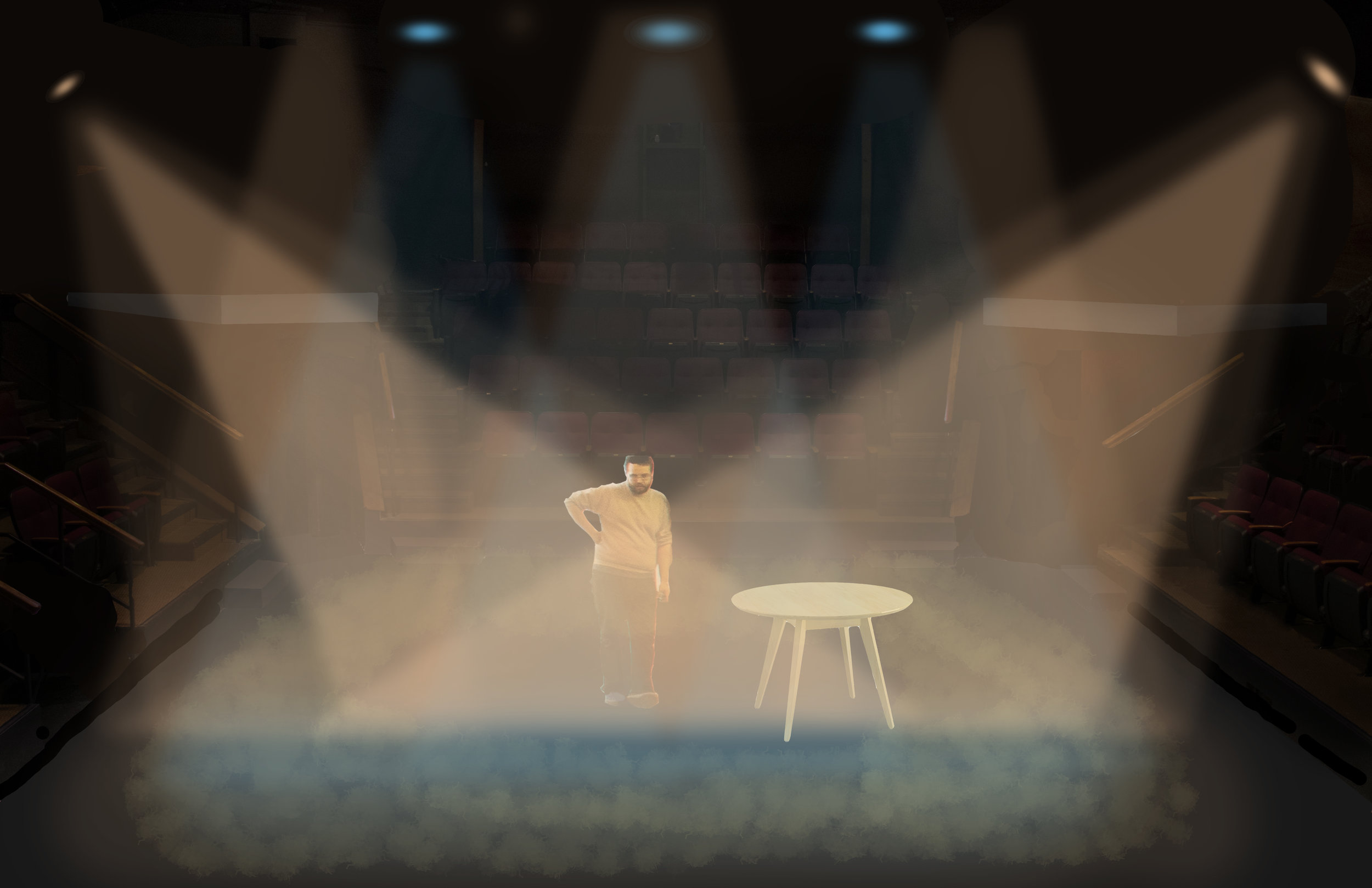 Rendering for  Shot Americans,  10 Minute Play Festival  Directed by Jackson Pant