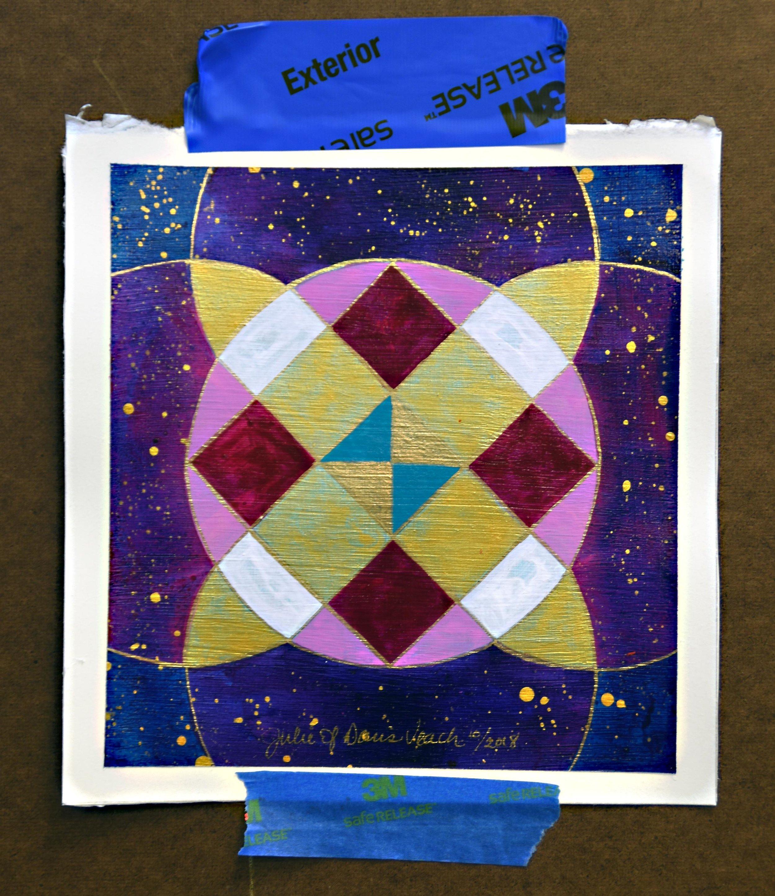 Julie Davis Veach  Beyond Balance 2018 6.5x6.5in. Acrylic on Paper