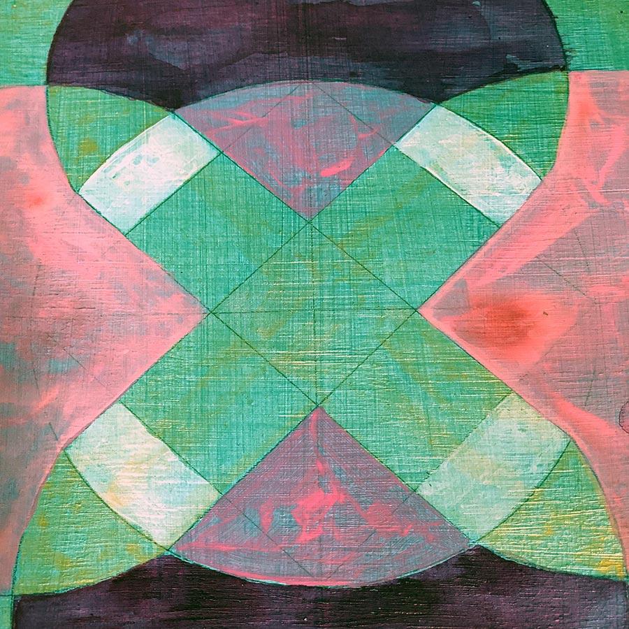 Julie Davis Veach  Beyond Balance 2018 6.5x6.5in. Acrylic on Paper (In-progress)