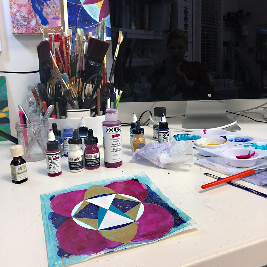Julie Davis Veach, Sacred Reflection, 2018 Acrylic, 6.5 x 6.5 in (in-progress)