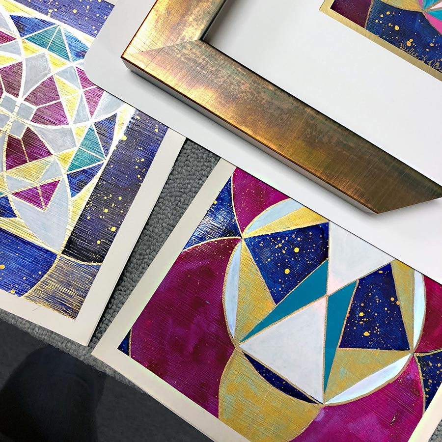 Julie Davis Veach, Sacred Reflection, 2018 Acrylic, 6.5 x 6.5 in. (Framing Options)