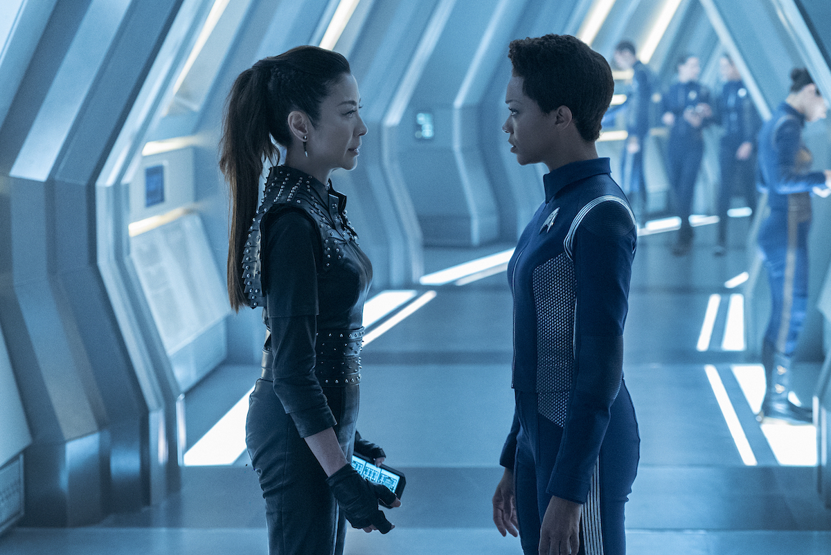 Michelle Yeoh as Philippa Georgiou and Sonequa Martin-Green as Michael Burnham in Star Trek: Discovery
