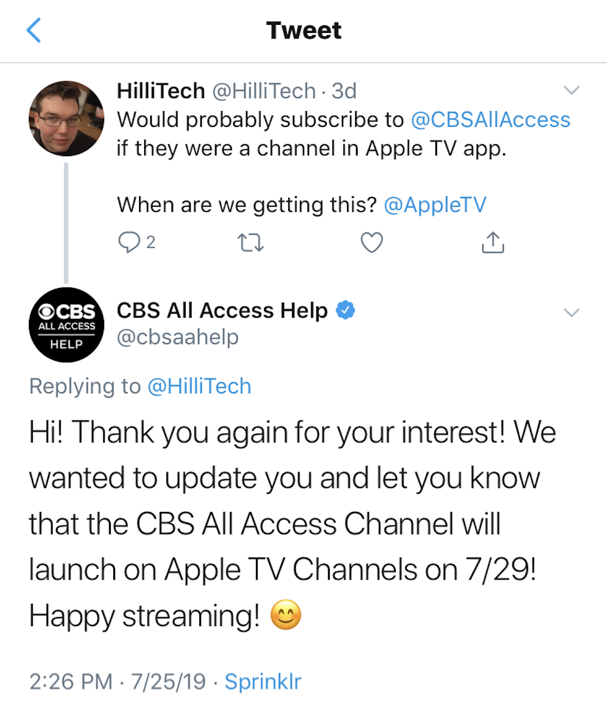 CBS All Access Help on Twitter